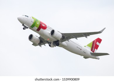 DUSSELDORF, GERMANY - MAY 26, 2019: TAP Air Portugal Airbus A320-251N (CN 8043) takes off from Dusseldorf Airport.