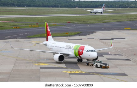 DUSSELDORF, GERMANY - MAY 26, 2019: TAP Air Portugal Airbus A320-251N (CN 8043) push back in Dusseldorf Airport.