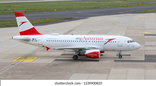 DUSSELDORF, GERMANY - MAY 26, 2019: Austrian Airlines Airbus A319-112 (CN 2494) taxi in Dusseldorf Airport.