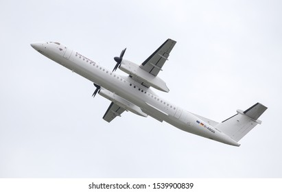 DUSSELDORF, GERMANY - MAY 26, 2019: Eurowings Bombardier Dash 8 402 (CN 4250) takes off from Dusseldorf Airport.