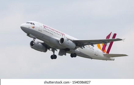 DUSSELDORF, GERMANY - MAY 26, 2019: Germanwings Airbus A319-132 (CN 3172) takes off from Dusseldorf Airport.