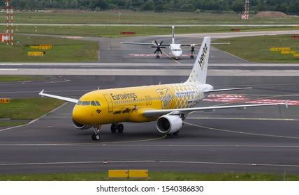 DUSSELDORF, GERMANY - MAY 26, 2019: Eurowings Airbus A320-214 (CN 3516) taxi in Dusseldorf Airport.