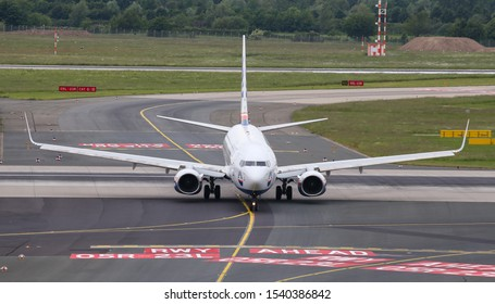 DUSSELDORF, GERMANY - MAY 26, 2019: Sun Express Boeing 737-8AS (CN 34985) taxi in Dusseldorf Airport.