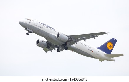 DUSSELDORF, GERMANY - MAY 26, 2019: Lufthansa Airbus A320-211 (CN 110) takes off from Dusseldorf Airport.