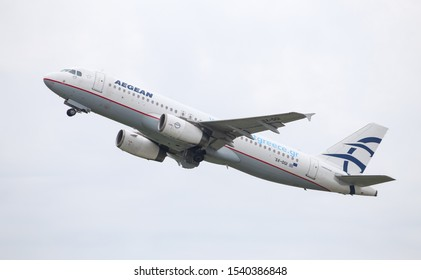 DUSSELDORF, GERMANY - MAY 26, 2019: Aegean Airlines Airbus A320-232 (CN 3162) takes off from Dusseldorf Airport.
