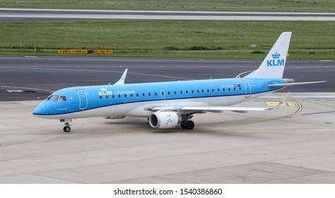 DUSSELDORF, GERMANY - MAY 26, 2019: KLM Cityhopper Embraer 190STD (CN 533) taxi in Dusseldorf Airport.
