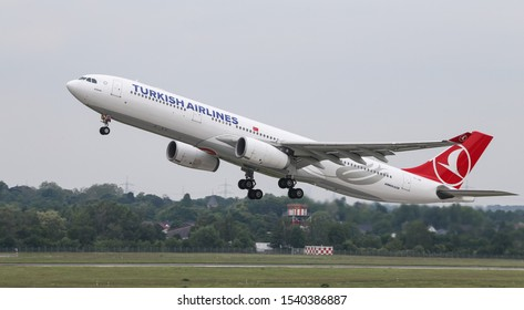 DUSSELDORF, GERMANY - MAY 26, 2019: Turkish Airlines Airbus A330-343X (CN 1160) takes off from Dusseldorf Airport.
