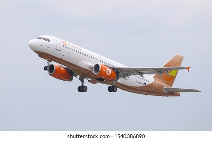 DUSSELDORF, GERMANY - MAY 26, 2019: Orange2fly Airbus A320-232 (CN 1407) takes off from Dusseldorf Airport.