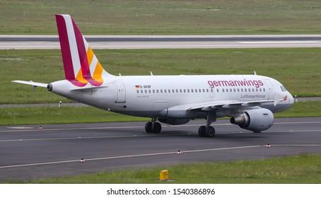 DUSSELDORF, GERMANY - MAY 26, 2019: Germanwings Airbus A319-112 (CN 646) taxi in Dusseldorf Airport.