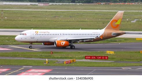 DUSSELDORF, GERMANY - MAY 26, 2019: Orange2fly Airbus A320-232 (CN 1407) taxi in Dusseldorf Airport.