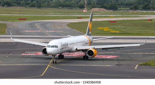 DUSSELDORF, GERMANY - MAY 26, 2019: Condor Airlines Boeing 757-3CQ (CN 32242) taxi in Dusseldorf Airport.