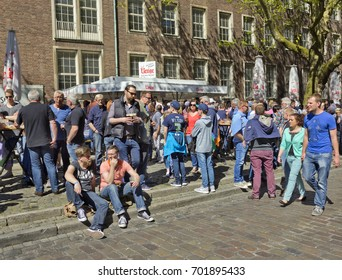 DUSSELDORF, GERMANY - MAY 5, 2016: People drinking beer on the street on Sunday in old town