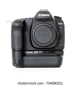 DUSSELDORF, GERMANY - OCTOBER, 2017: Digital SLR camera Canon 5D Mark II. All on white background.