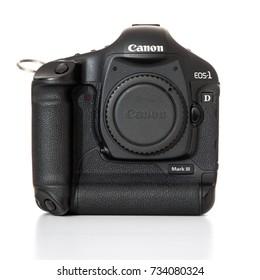 DUSSELDORF, GERMANY - OCTOBER, 2017: Digital SLR camera Canon 1D Mark III. All on white background.