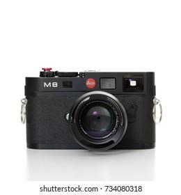 DUSSELDORF, GERMANY - OCTOBER, 2017: Leica digital camera model M8. All on white background.