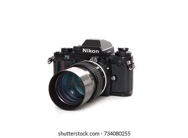 DUSSELDORF, GERMANY - OCTOBER, 2017: Old retro camera Nikon F3. All on white background.
