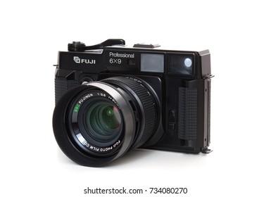 DUSSELDORF, GERMANY - OCTOBER, 2017: Old medium format camera Fuji GSW690ii. All on white background.