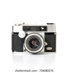 DUSSELDORF, GERMANY - OCTOBER, 2017: Old 35mm film camera Beauty Beaumat. All on white background.