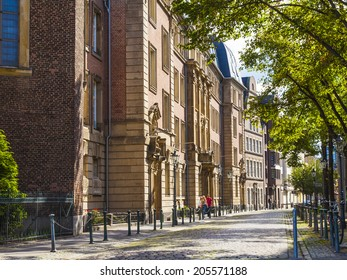 Dusseldorf, Germany, on July 6, 2014. Typical view of the city street. Summer morning