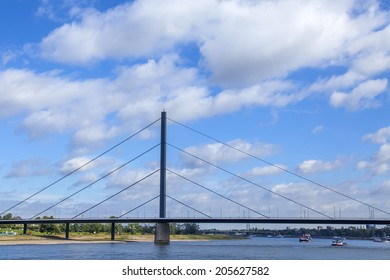 Dusseldorf, Germany, on July 6, 2014.  View of the river Rein, embankment and bridge
