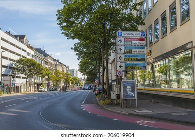 Dusseldorf, Germany, on July 7, 2014. Typical view of the city street. Summer morning
