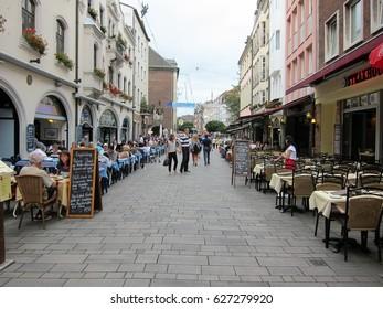 Dusseldorf Germany - September 2 2016. Open air cafes and restaurants in Altstadt district of Dusseldorf