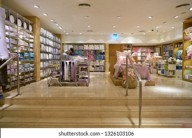 DUSSELDORF, GERMANY - SEPTEMBER 24, 2018: interior shot of Zara Home store in Dusseldorf. Zara Home is a company belonging to the Spanish Inditex group dedicated to the manufacturing of home textiles
