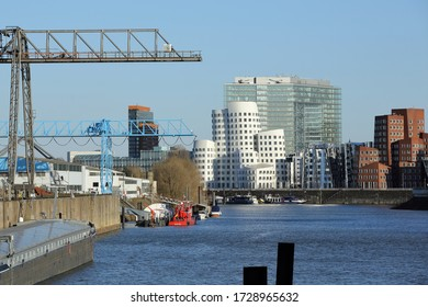 Dusseldorf Industrial Harbor with modern Office Buildings along the Rhine River