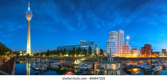 Dusseldorf media harbor night panorama