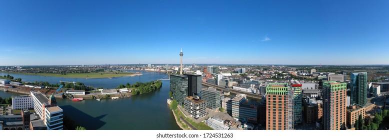 Dusseldorf Media Harbor and Rhine Panorama