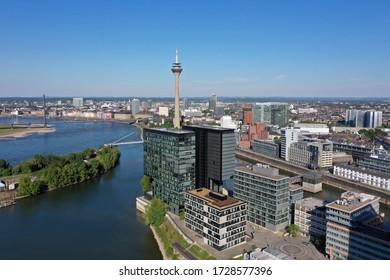 Dusseldorf Media Harbor Skyline and Rheinturm Tower along the Rhine River