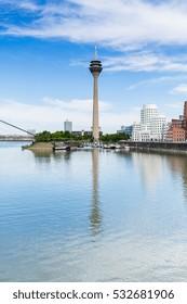 Dusseldorf Medienhafen skyline tv tower at summer