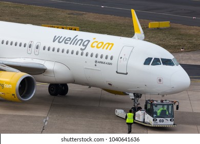 dusseldorf, nrw/germany - 04 03 18: vueling airlines airplane on ground at dusseldorf airport germany