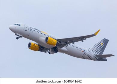 dusseldorf, nrw/germany - 04 03 18: vueling airlines airplane starting at dusseldorf airport germany