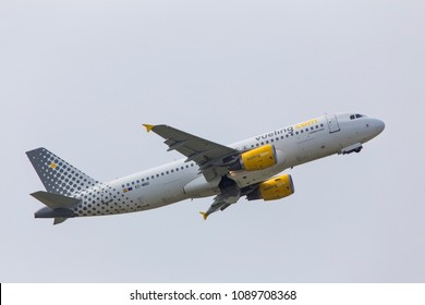 dusseldorf, nrw/germany - 12 05 18: vueling airlines airplane starting from dusseldorf airport germany