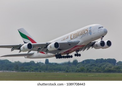 dusseldorf, nrw/germany - 12 05 18: emirates airbus a380 starting at dusseldorf airport germany