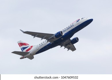 dusseldorf, nrw/germany - 15 03 18: british airways airplane starting at dusseldorf airport germany