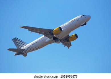 dusseldorf, nrw/germany - 19 03 18: vueling airlines airplane starting at dusseldorf airport germany
