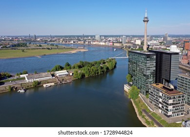 Dusseldorf Panorama along the trendy Media Harbor Business District and the Rhine River