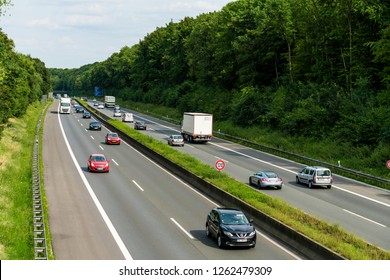 DUSSELDORF,GERMANY-AUGUST 21,2017: Traffic on a German highway.