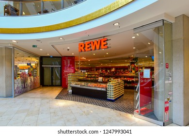DUSSELDORF,GERMANY-MAY 25,2018:REWE supermarket entrance.