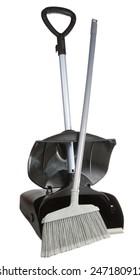 Dust bin shovel with plastic broom in White background