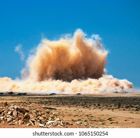 Dust clouds after the huge blast