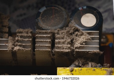 Dust and dirt on the pc processor cooling heatsink. Close-up