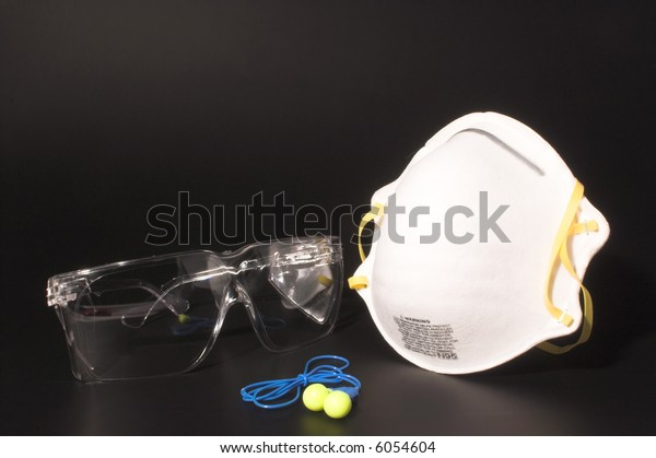 Dust Mask Ear Plugs Safety Glasses Stock Photo (Edit Now) 6054604