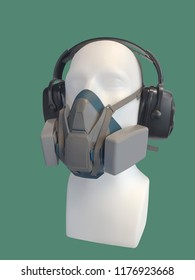 Dust mask and hearing protection ear muffs on mannequin, isolated on green background.