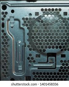 dust and poplar pollen inside a desktop computer case attracted by fan