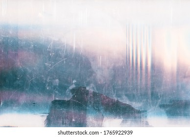 Dust scratches overlay. Vintage effect. Blue pink faded noise on white abstract background.