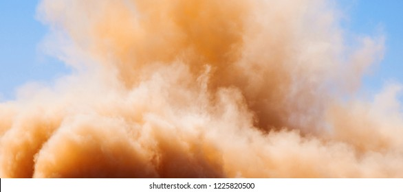 A dust storm in the desert of Sharjah UAE