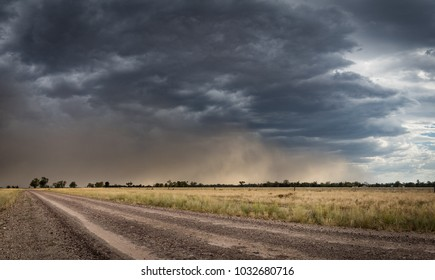 Dust Storm Down a Country Road
